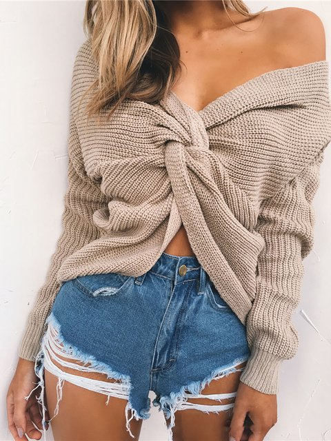 Solid Long Sleeve V neck Backless Sweater