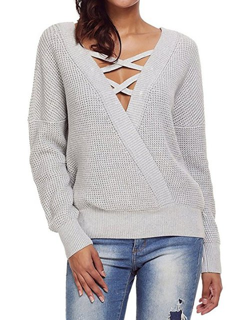 Solid Cotton Basic Plus Size V-Neck Knitted Sweater