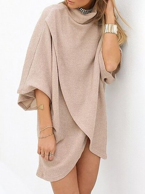 Pink Daily Solid Cotton Shift Fall Paneled Dress Sleeve Women Half Basic EqwB8Er