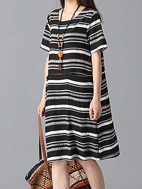 Short Casual Dress Striped Women Sleeve Basic Shift Paneled 64gwPxq