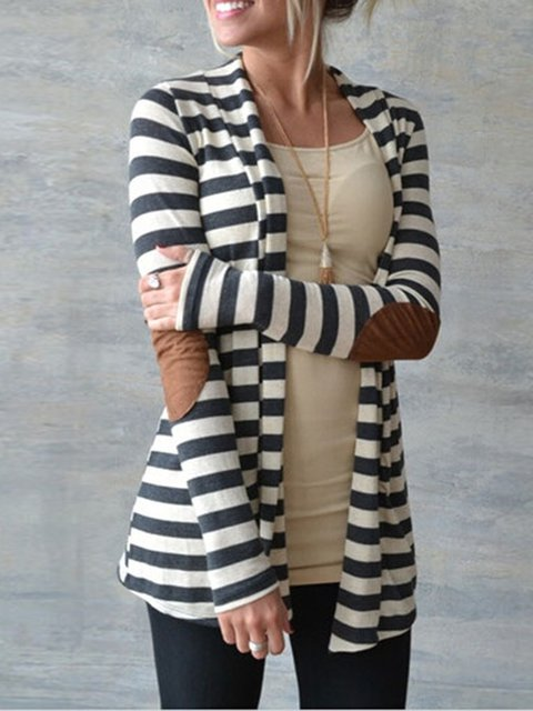 Black Paneled Long Sleeve Lycra Shawl Collar Cardigan