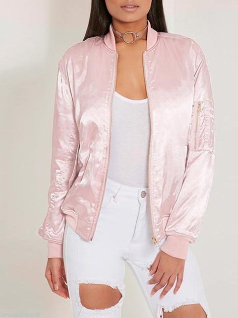 Casual Jacket Stand Paneled Solid Collar Pink Bomber Cotton Xqwv0B0xE