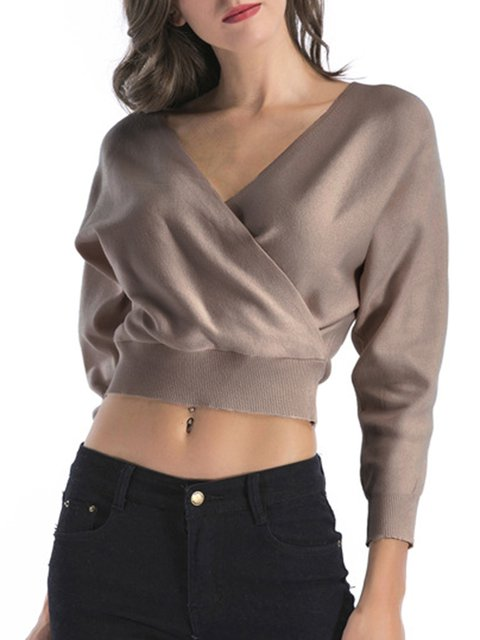 Solid Sexy Long Sleeve Surplice Neck Knitted Sweater
