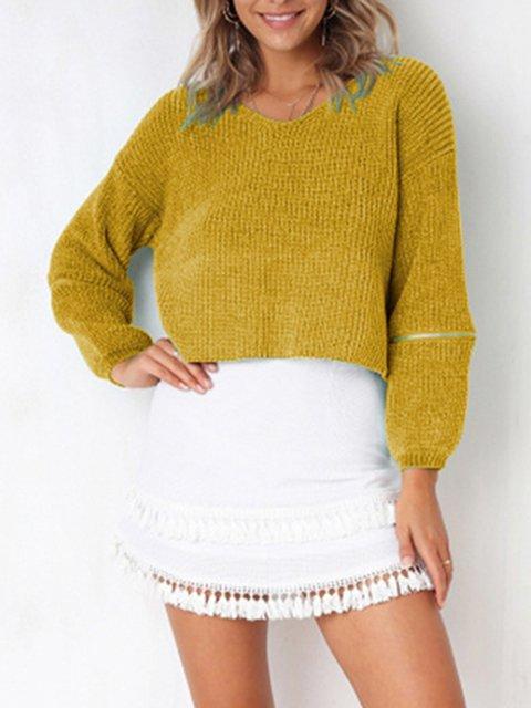 Elegant Long Sleeve Solid Cotton V neck Zipper Sweater