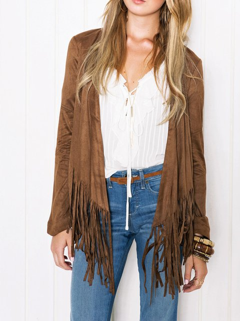 Coffee Cotton V neck Solid Long Sleeve Fringed Chic Cardigan
