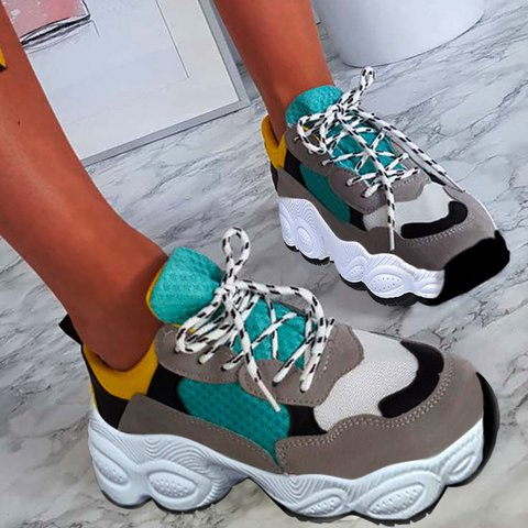 Women Lace-up Color Block Sneakers Athletic Comfort Shoes