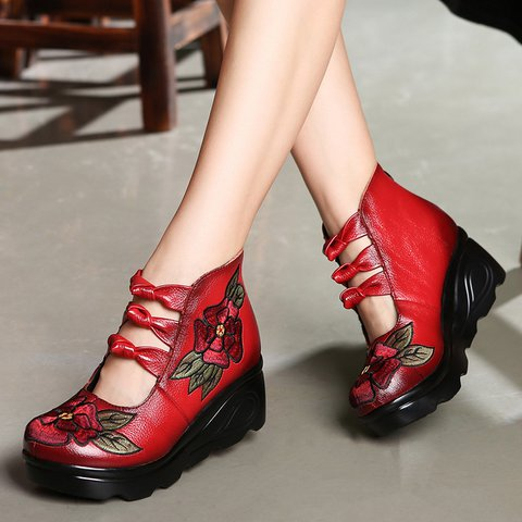Women Flower Wedge Sandals Casual Slip On High Quality Shoes