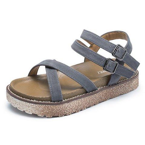 Women Nubuck Creepers Sandals Casual Comfort Adjustable Buckle Shoes