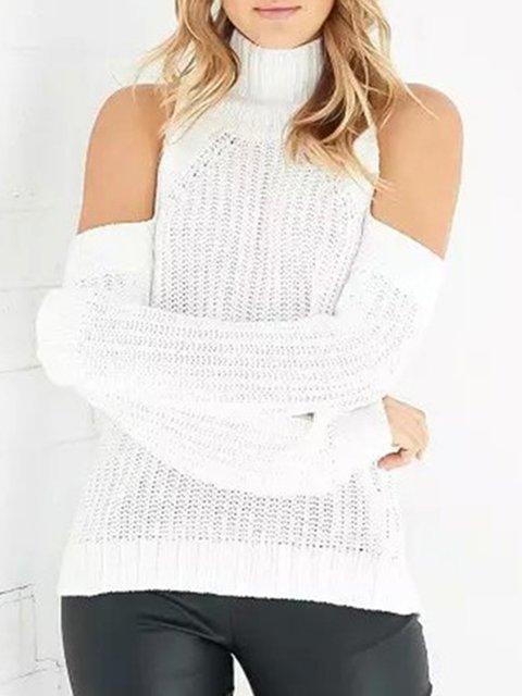 Knitted Cold Shoulder Turtle Neck Solid Elegant Sweater