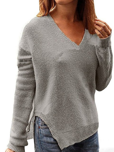Long Sleeve Casual Solid V neck Slit Sweater