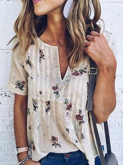 White V neck Floral-print Short Sleeve Shirts