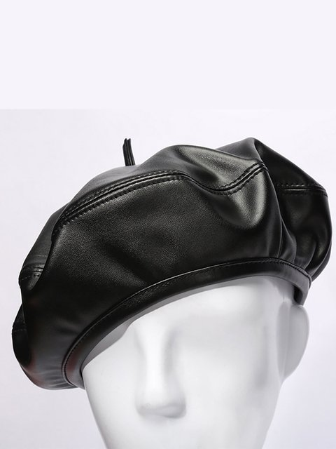 Womens Winter Solid Color Leather French Beret Cap Warm Outdoor Casual  Vogue Hats 9b9ed891d111