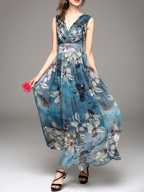 Women Daily Basic Sleeveless Paneled Floral Elegant Dress