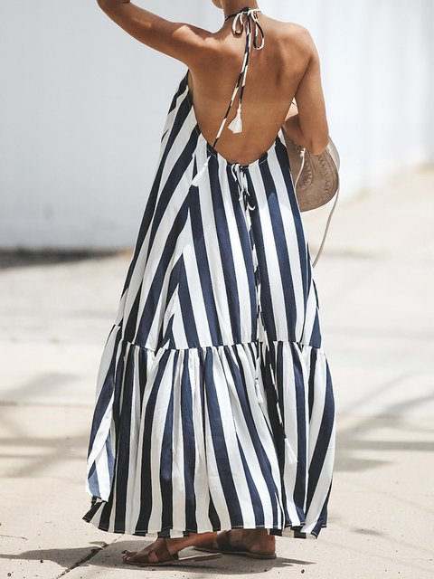 40b074458fa7 Stripe Women Halter Summer Dress Swing Maxi Dress - JustFashionNow.com
