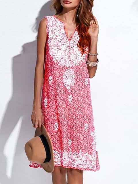 V neck Pink Shift Women Daytime Basic Sleeveless Printed Floral Summer Dress