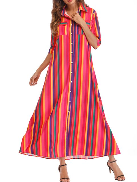 Shawl Collar Red A-line Women Daily Half Sleeve Basic Paneled Striped Summer Dress