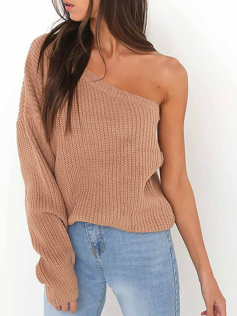 Long Sleeve Solid One Shoulder Winter Sweater