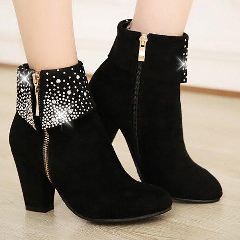 Women Nubuck Pumps Booties Casual Shiny Plus Size Zipper Shoes