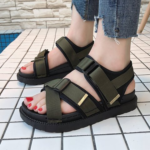 Women Peep Toe Sandals Casual Comfort Magic Tape Shoes