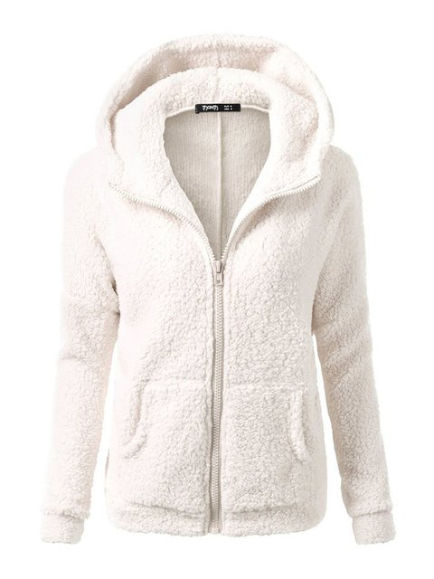 Long Sleeve Casual Zipper Cotton-blend Solid Plus Size Polyester Hoodie Sweatshirts  Hoody