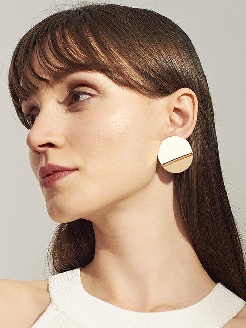 Womens Round Metal Earrings