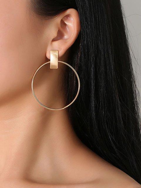 Minimalist Big Circle Round Elegant Geometric Statement Stud Earrings