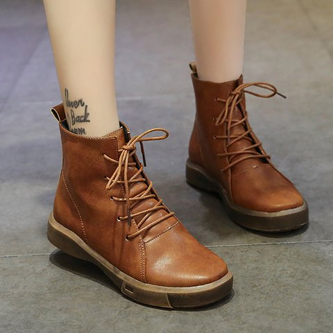 Womens PU Vintage Flat Heel Casual Winter Lace Up Boots