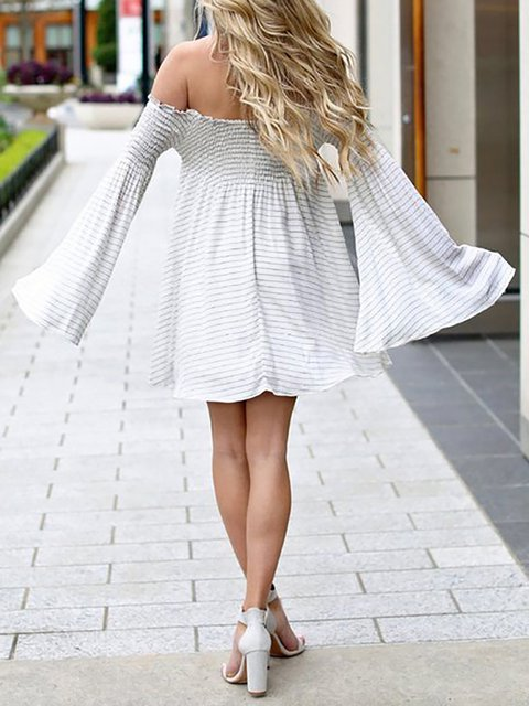 79261bd3b662 Off Shoulder White Swing Women Casual Bell Sleeve Striped Summer Dress