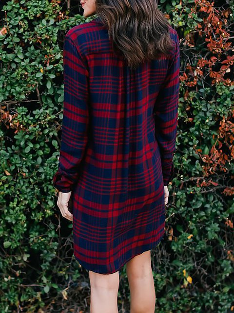 Plaid Basic Women Dress Sleeve Checkered Long Shift neck Fall V SwqCx1v