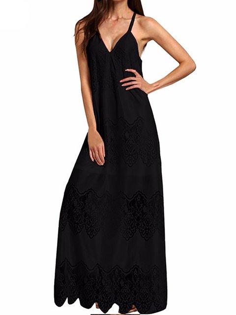 V neck  Shift Women Daily Spaghetti Basic Paneled Summer Dress