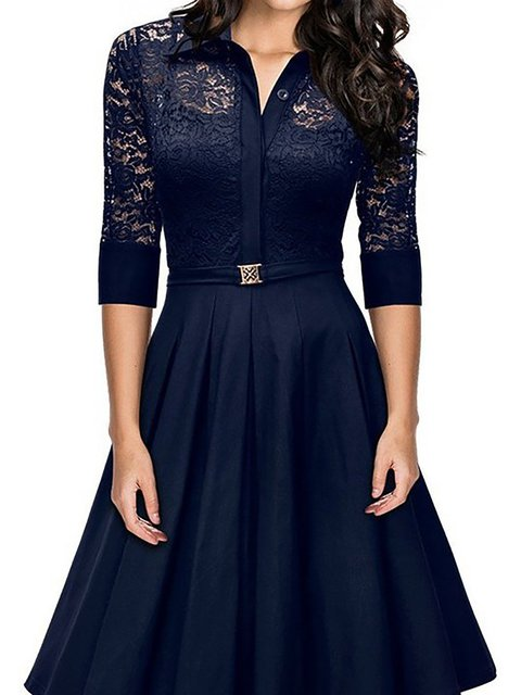 Shawl Collar  Swing Women Daily 3/4 Sleeve Basic Paneled Solid Prom Dress