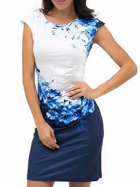 Bodycon Women Daily Basic Short Sleeve Paneled Floral Prom Dress