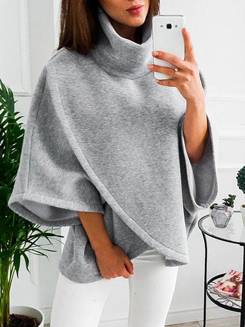 Batwing Casual Turtle Neck Paneled Solid Asymmetric Sweatshirts  Hoody