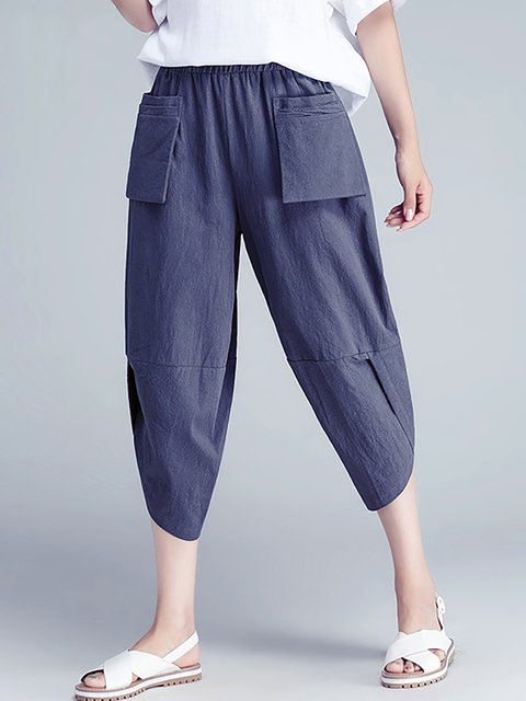 Casual Cotton Pockets Solid Plus Size Pants