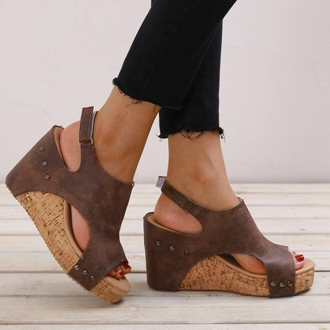 Women Wedge Sandals Casual Peep Toe Magic Tape Plus Size Shoes