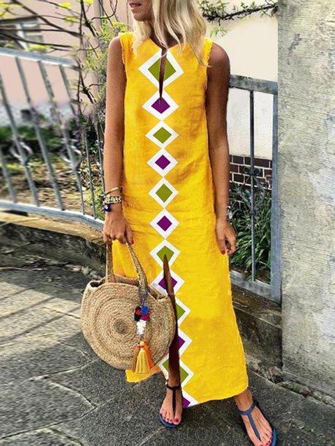 V neck  Shift Women Daily Casual Sleeveless Geometric Summer Dress