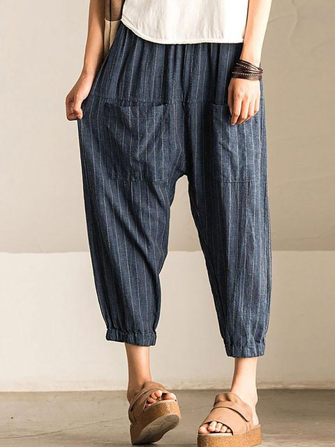 Blue Pockets Casual Cotton Striped Pants