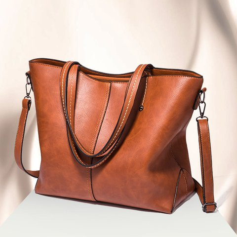 Women Casual Tote High Capacity PU Zipper Bag