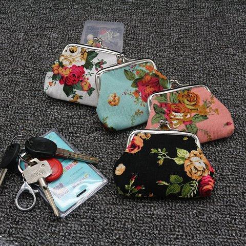 Women Vintage Wallet Zipper Cotton Follower Clutches Wristlet Purse