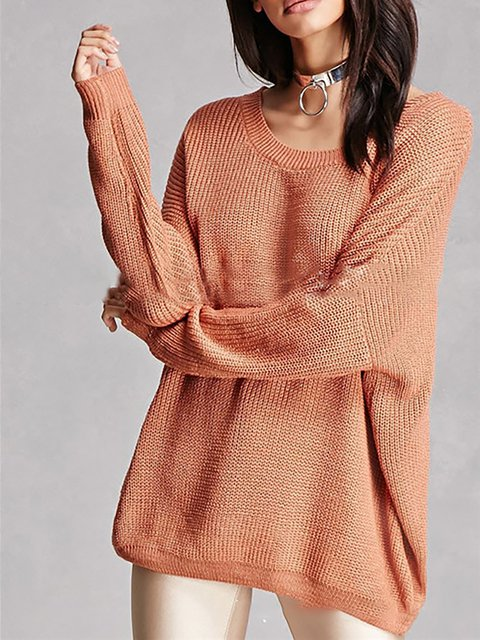 Long Sleeve Cotton-blend Knitted Solid Casual Crew Neck Chic Sweater