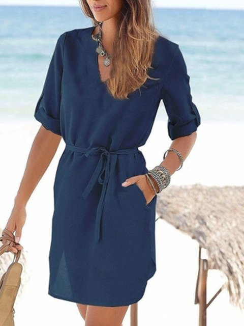 Sleeve Short Shift neck V Summer Solid Daily Women Dress Casual CTRaYw