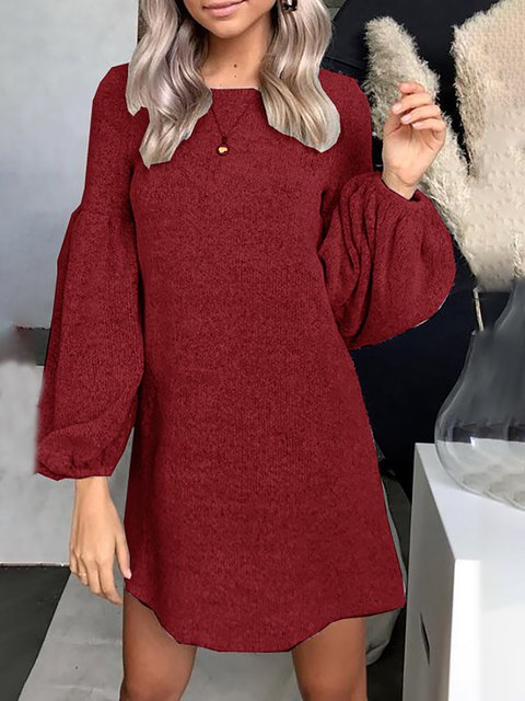 Crew Neck Balloon Sleeve Casual Solid Winter Sweater