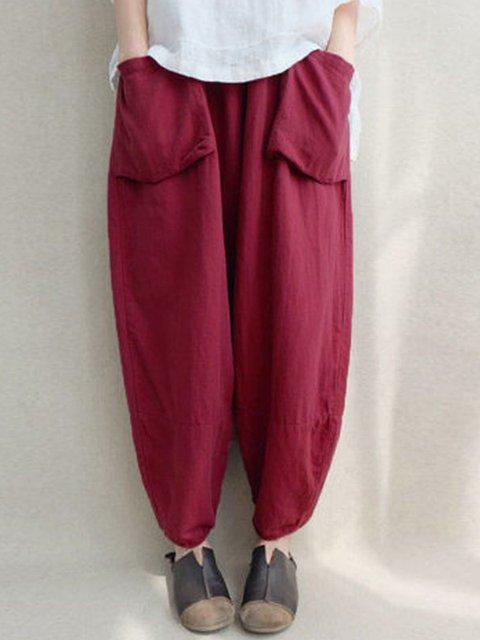 Casual Linen Pockets Plus Size Pants