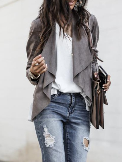 Paneled Jacket Shawl Sleeve Casual Collar Long rfBzqwrY