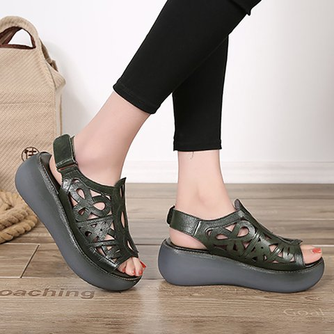women peep toe creepers sandals casual magic tape quality
