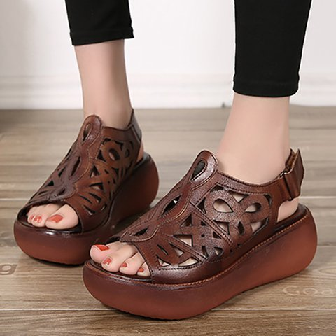 Women Peep Toe Creepers Sandals Casual Magic Tape Quality Shoes