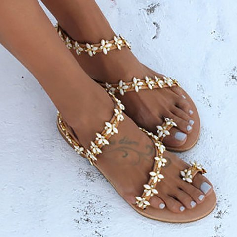 9b767ecfc6eac Summer Handmade Cute Beach Flat Sandals PU Rhinestone Slip On Sandals
