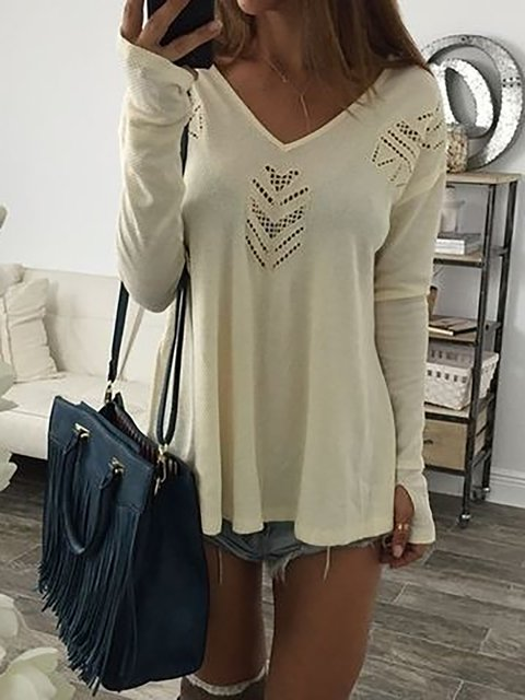 neck Casual V Solid Sleeve Shirt T Long Cutout RtqExwZ77