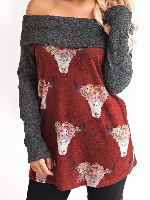 Printed Animal Cotton Long T Sleeve Shirt Red qxnp4z