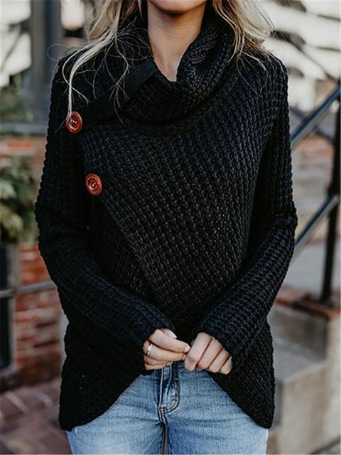 7e097cbc1c4 Solid Buttoned Long Sleeve Knitted Turtle Neck Sweater